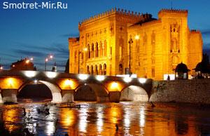 Город Сараево ночью