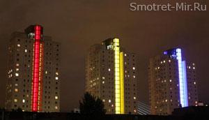 Ночные огни небоскребов Роттердама